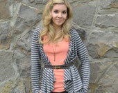 Sale - Leslie striped cardigan in hemp and organic cotton jersey