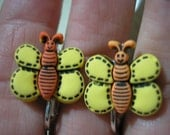 Play Earring - Clip - Butterfly - Yellow/Orange - 3/4""