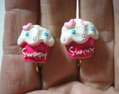 Play Earring - Clip - Cupcake - Sweet - Pink - 1/2""