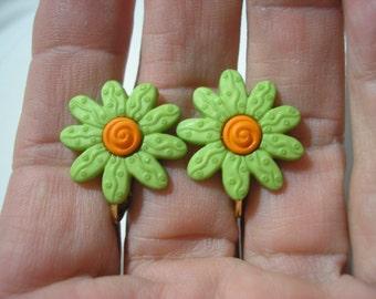 "Earring - Clip - Tween - Bright Daisy - Green - 3/4"""