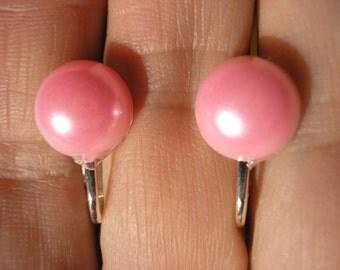 "Play Earring - Clip - Half Pearl -  Pink - 5/8"""