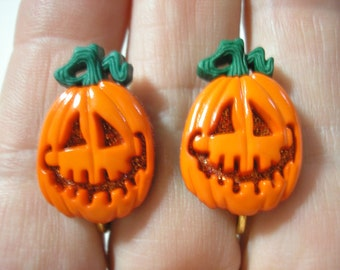 Pumpkin Earring - Clip or Pierced - Pumpkin Face