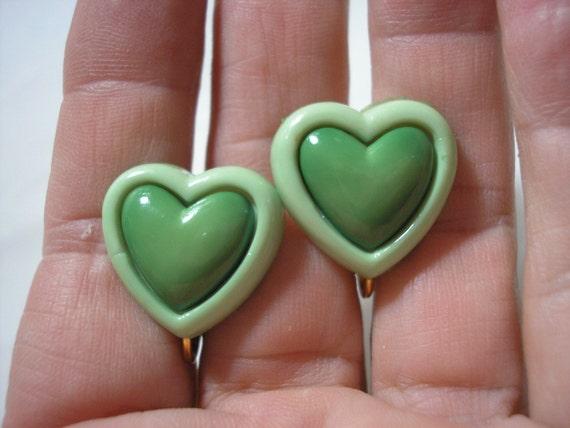 """Earring -  Clip - Tween - Two Tone Heart - Green - 3/4"""""""