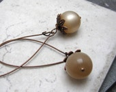 Taupe Earrings, Pushing Up Daisies, Antique Copper with Moonglow Beads, Buy 3 Get 1 Free