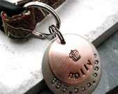 Custom Copper 2 Layer Pet ID Tag, bottom layer nickel silver, split ring included, customized by you