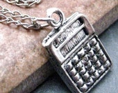 CALCULATOR Charm Necklace, 16 inch long, diff length or charm avail, silver plated