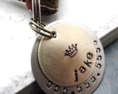 Custom Brass 2 Layer Pet ID Tag, Pet Name Tag, Cat Tag, Cat ID Tag, Dog Tag, split ring included, customized by you