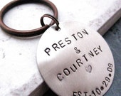 Personalized Silver Keychain, 1 1/4 inch nickel silver disc, antique copper split ring, customization avail, please read entire listing