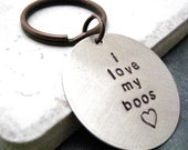 Personalized Silver Keychain, 1 1/4 inch disc, antique copper split ring, customization avail, please read entire listing