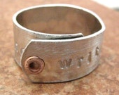 Writing is Rewriting Aluminum Cuff Ring with copper rivet, customization available, please read listing