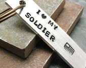 I Love My Soldier Aluminum Bar Keychain, military wife, please read listing and see pics for specs
