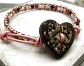 Heart Beaded Leather Bracelet, Love Neapolitan Style Single Wrap, wooden heart bead for clasp, MADE TO ORDER, please read listing