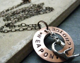 MICROSCOPE Necklace, Weapon of Choice, Copper Washer, alt charms avail, please read listing