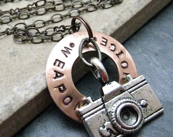 CAMERA Weapon of Choice Stamped Necklace, copper washer, alt charms available