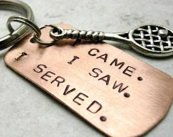 Tennis Racquet Keychain, I Came, I Saw, I Served, Tennis Racket Keychain, tennis team, tennis player gift, tennis coach gift
