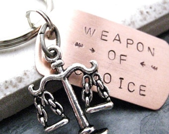 SCALES OF JUSTICE Weapon of Choice Keychain, lawyer gift, attorney gift, law student gift, law school graduate gift, optional initial disc