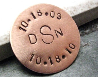 Personalized Golf Ball Marker Copper, customization available, choose copper or nickel silver