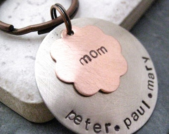 Personalized Mother's Keychain, Copper flower on nickel silver disc, Flower keychain, Mother's Day Gift, gifts for mom, Mommy Keychain
