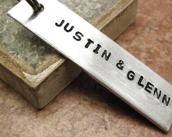 Personalized Couples Keychain, male couple keychain, his and his keychain, gay couple keychain, gay male keychain, put date on the back
