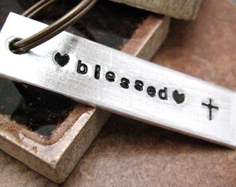 Blessed Keychain, hand stamped aluminum bar, christian keychain, I am blessed, faith, please read listing and see pics for specs