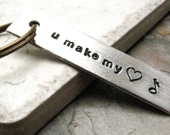 You Make My Heart Sing Aluminum Bar Keychain, Valentine's Day Gift, Valentine Keychain, please read listing and see pics for specs