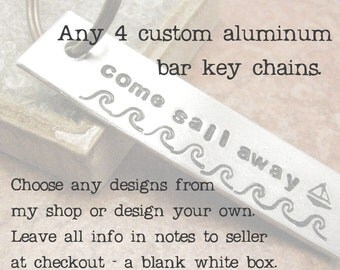 BULK DEAL - Any 4 Bar Keychains, set of 4 keychains, stocking stuffers, custom keychains, customized keychains, men's keychains