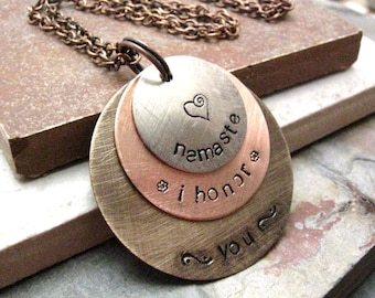 Namaste Necklace, Hand Stamped, Yoga Necklace, 3 Layers, Customization Avail with 9 metal choices, option 7 pictured, meditation, exercise