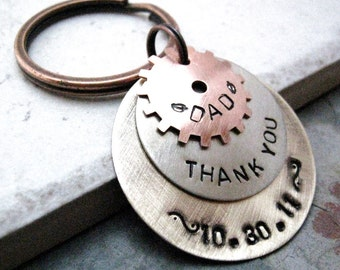 3 layer keychain, Gear keychain, gifts for dad, Dad's keychain, Father's Day gift, rugged keychain, men's accessory, masculine keychain