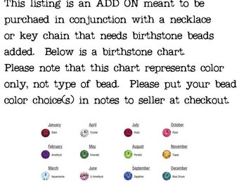 Add a birthstone colored bead to your piece, a necklace or keychain from Risky Beads