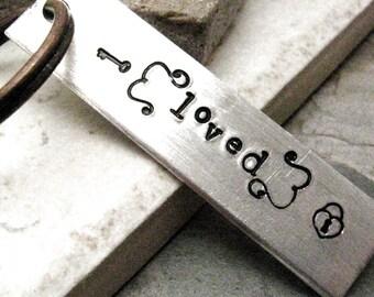 Loved Keychain, Valentine keychain, Valentine's Day Gift, boyfriend gift, girlfriend gift, add initials or date to the back, gifts for him