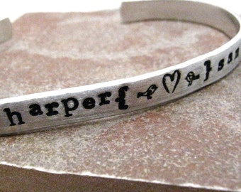 Valentine Bracelet, Personalized Bracelet, Love Birds, aluminum cuff, great gift for valentines day or anniversary, design your own
