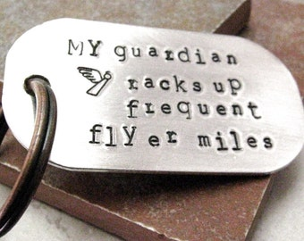 Guardian Angel Keychain, Someone watching over me, Drive Safely, new driver keychain, daredevil, customize with your own quote