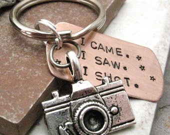 Photographer Keychain, camera charm, I Came.  I Saw.  I Shot, photography keychain, wedding photographer gift, optional initial disc