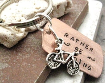Rather Be Riding Bike Keychain, bicycle keychain, biking keychain, optional personalized initial disc, see pics for example