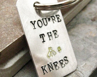 You're the Bees Knees Keychain, dating gift, new relationship gift, new friendship gift, new friend gift, optional initial disc