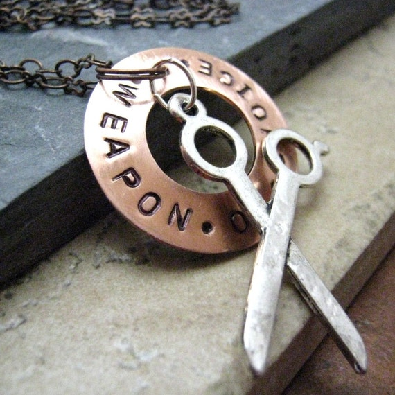 SCISSORS Necklace, Weapon of Choice Necklace in Copper, alt charms available, please read listing