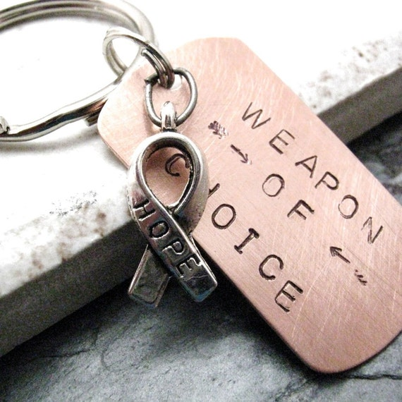 Hope Keychain, Weapon of Choice, encouragement, motivation, empowerment, keep hoping, never give up, optional initial disc