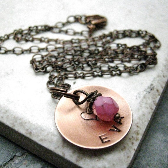 Personalized Mommy Necklace, Copper Disc with Birthstone Color Bead Choice, 16 default chain length, mothers day gift