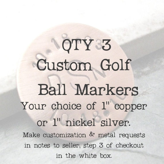 ANY 3 Personalized Golf Ball Marker Copper, customization available, choose copper or nickel silver