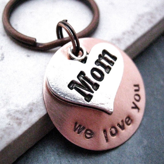 Mom We Love You Heart Charm Key Chain, hand stamped, customization avail, pls see listing for details