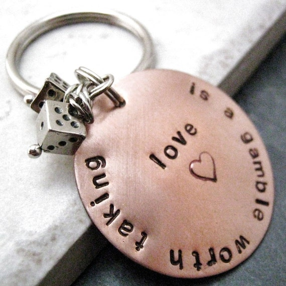 Love Is A Gamble Worth Taking Keychain, comes with two dice beads, Valentine's Day Gift, Valentine keychain, Gambling keychain, lucky