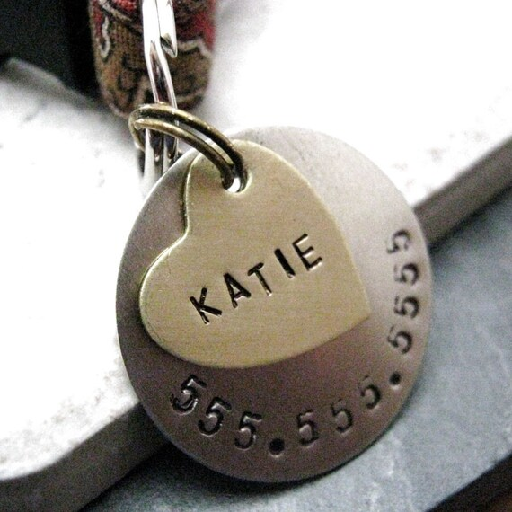Custom Brass Heart 2 Layer Pet ID Tag, bottom layer nickel silver, split ring included, customized by you