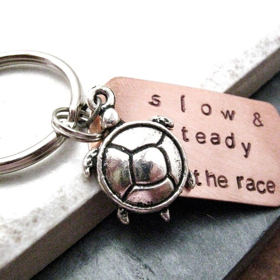 Slow And Steady Wins the Race Keychain with turtle charm, take your time, optional initial disc, see all pics, turtle keychain