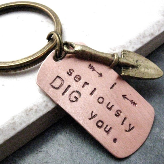 I Seriously Dig You Key Chain Trowel Charm with split ring, IMPORTANT - key chain now comes with SILVER ring and shovel.