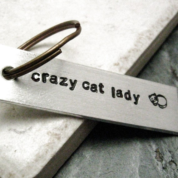 Crazy Cat Lady Keychain, Cat lover's gift, Cat lady gift, feline enthusiast, i love cats, optional name on the back