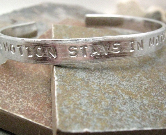 A Body in Motion Stays in Motion Bracelet, Exercise bracelet, Fitness Bracelet, Workout Bracelet, aluminum cuff, plus size available