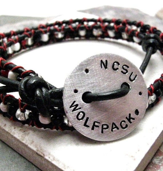 SALE NCSU Wolfpack Double Wrap Beaded Leather Bracelet, Personalized Button, ready to ship as is, great gift for him, too