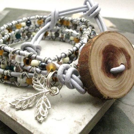 SALE Triple Wrap Beaded Leather Wrap Bracelet, Forgotten Forest, handmade wooden button for clasp, prev 47.45