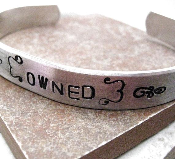Owned Bracelet, BDSM Bracelet, Slave Bravelet, DDlg bracelet, Submissive bracelet, aluminum cuff approx 3/8 inch wide, customizable