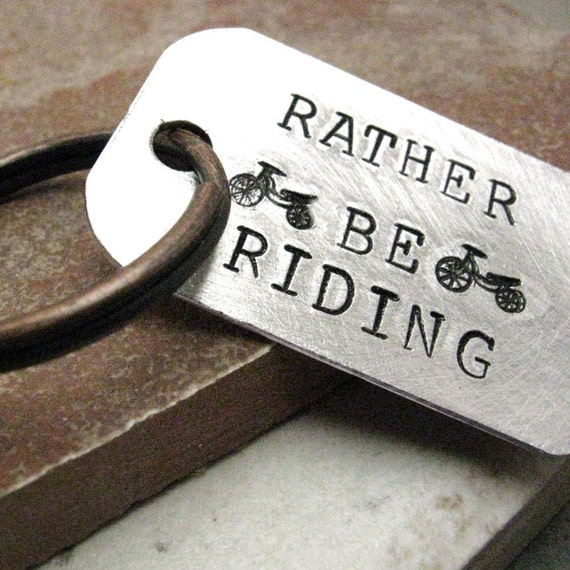 Rather Be Riding Keychain, bicycle, biking keychain, bicycling keychain, optional personalized disc, see all pics, bmx motorcross